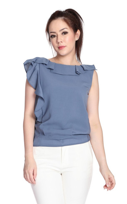 Asymmetrical Ruffle Top - Dusty Blue