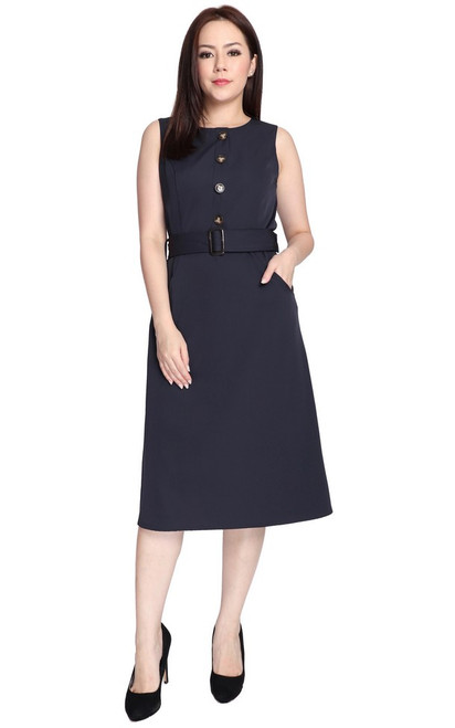 Buttons Dress - Navy
