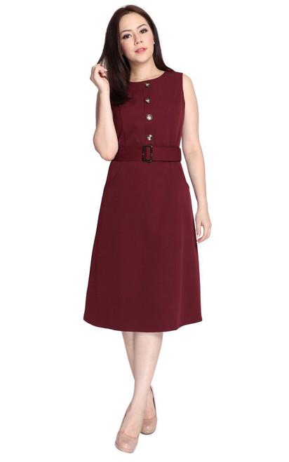 Buttons Dress - Burgundy