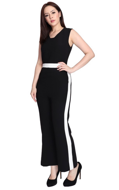 Contrast Panel Jumpsuit - Black