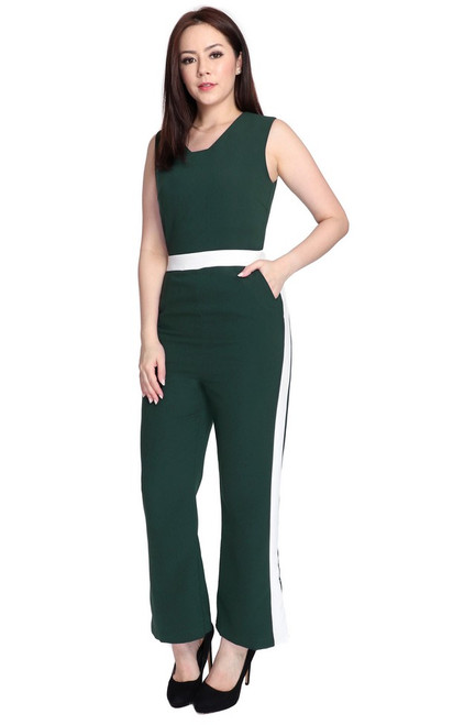 Contrast Panel Jumpsuit - Forest Green