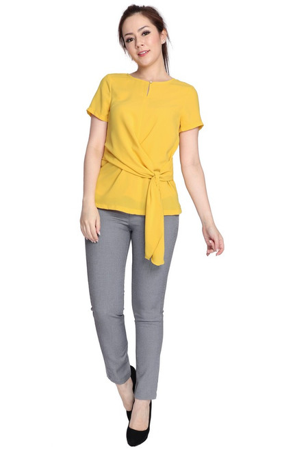 Side Drape Knotted Top - Marigold