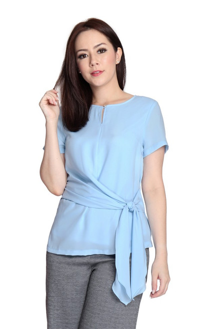 Side Drape Knotted Top - Baby Blue