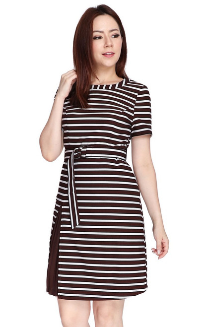 Contrast Side Pleated Dress - Brown