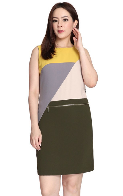 Colourblock Zipper Shift Dress - Mustard