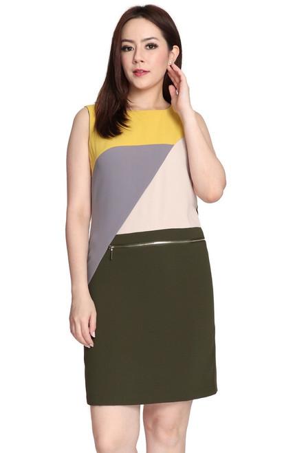 Colourblock Zipper Shift Dress - Mustard