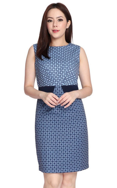 Mosaic Print Pencil Dress - Blue