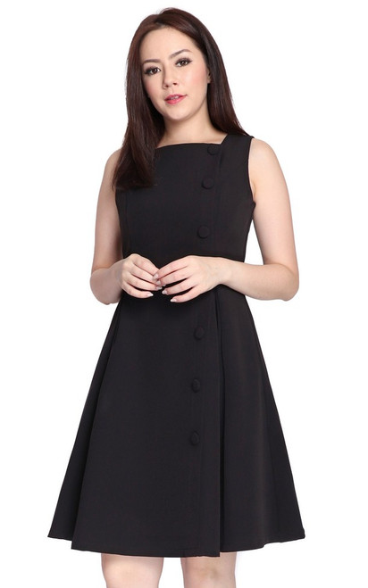 Square Neck Flare Dress - Black