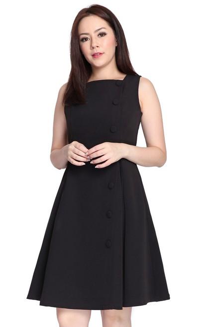Square Neck Flare Dress - Black