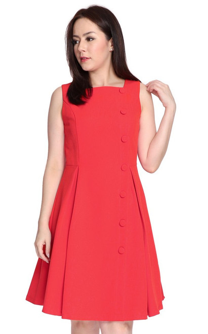 Square Neck Flare Dress - Vermillion