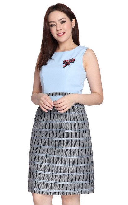 Jacquard Paperbag Dress - Baby Blue