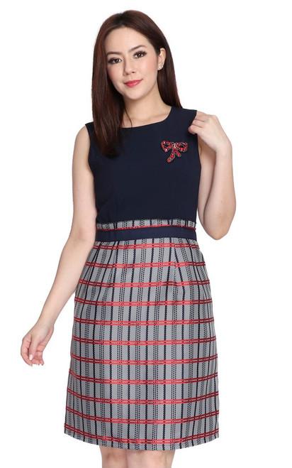 Jacquard Paperbag Dress - Navy