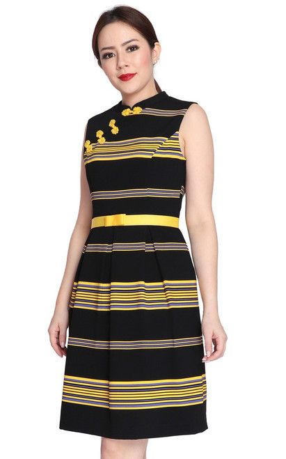 Striped Cheongsam - Yellow