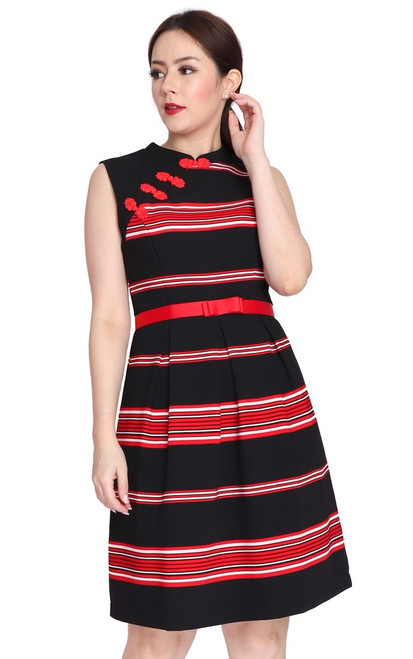 Striped Cheongsam - Red