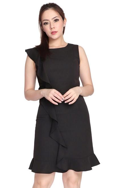 Waterfall Ruffle Dress - Black