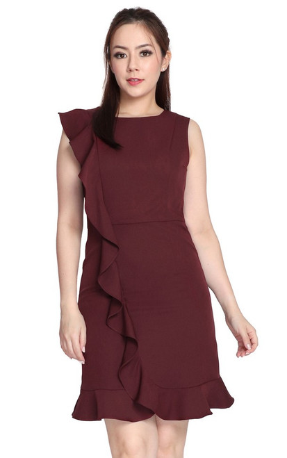 Waterfall Ruffle Dress - Burgundy