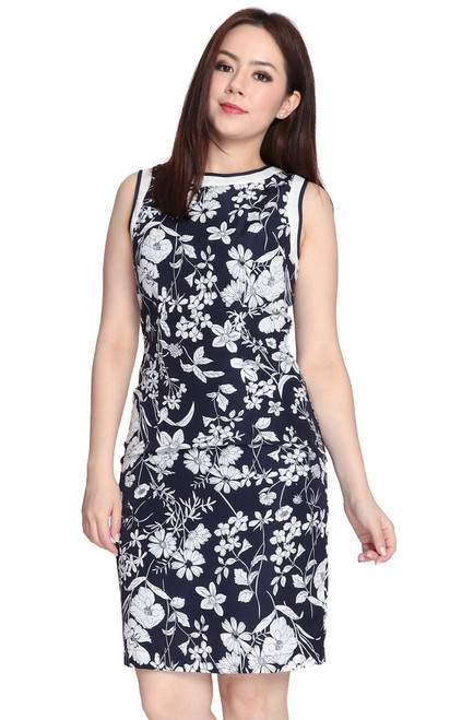 Botanico Sheath Dress - Navy