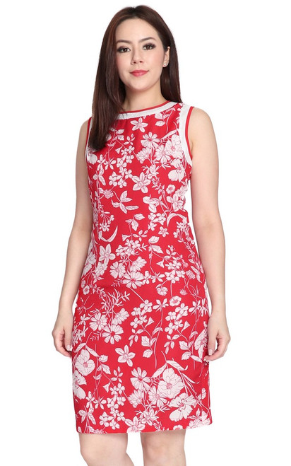 Botanico Sheath Dress - Red