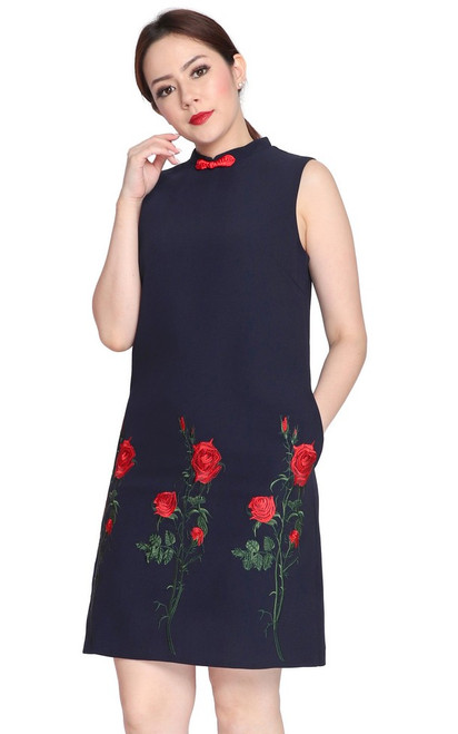 Embroidered Rose Cheongsam