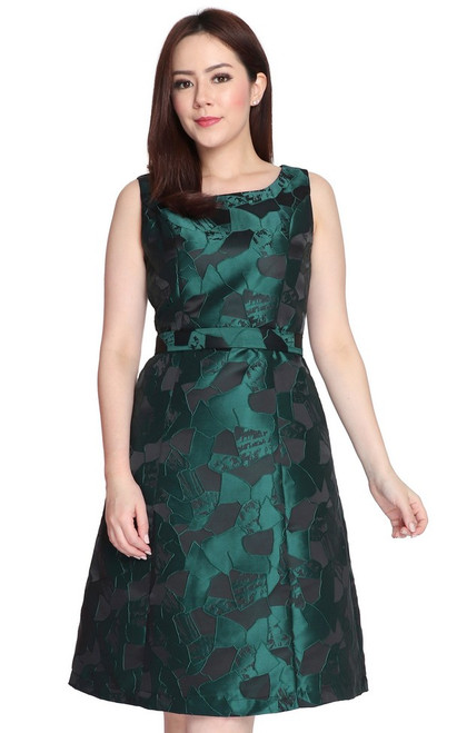 Jewel Tone Brocade Dress - Emerald