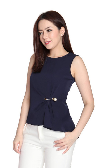 Asymmetrical Side Ruched Top - Navy