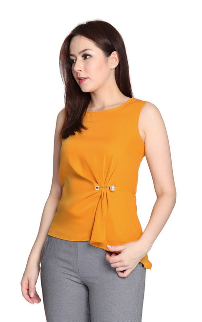 Asymmetrical Side Ruched Top - Amber