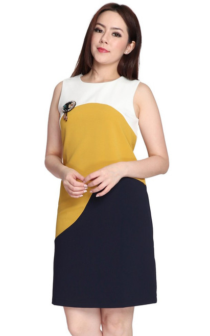 Colourblock Wave Shift Dress
