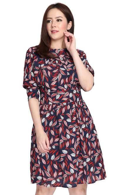 Printed Batwing Sleeves Dress - Navy