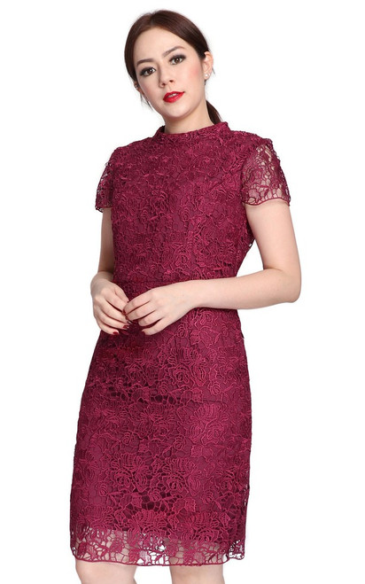 High Collar Crochet Lace Dress - Deep Berry