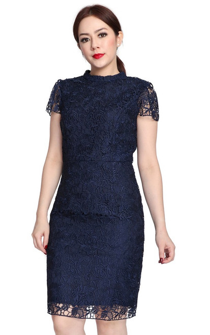 High Collar Crochet Lace Dress - Navy