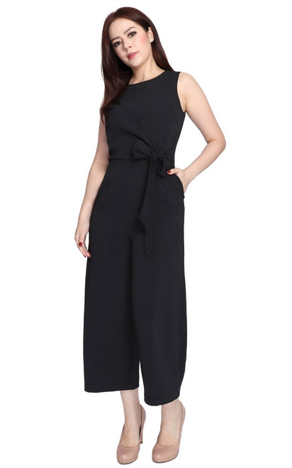Side Tie Jumpsuit - Black