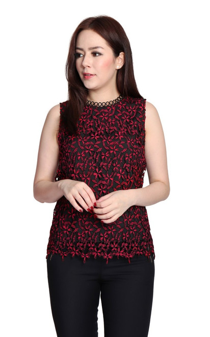 Floral Crochet Lace Top - Red