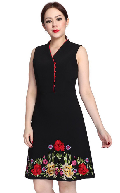 Embroidered High Collar Dress