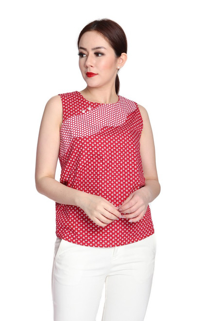 Patchwork Scallop Top - Red