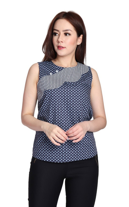 Patchwork Scallop Top - Navy
