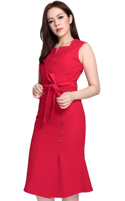 Structured Neckline Dress - Red