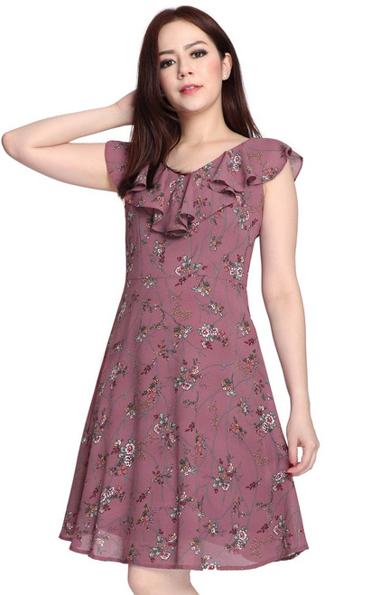 V-Neck Ruffled Dress - Dusty Plum