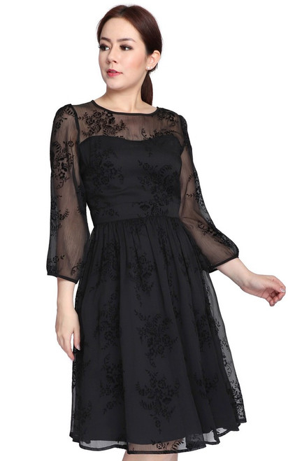Velvet Motif Chiffon Dress - Black