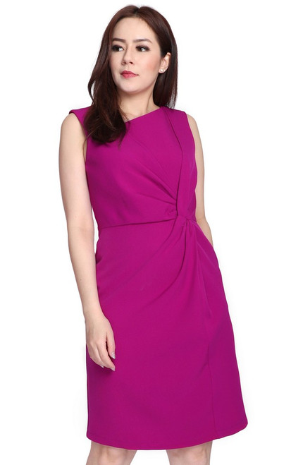 Side Twist Dress - Magenta