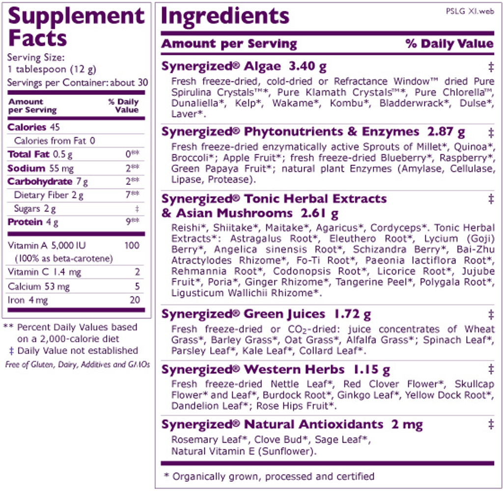 Synergy Company's Pure Synergy Superfood Blend