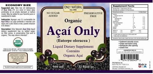 Only Natural Organic Acai Juice