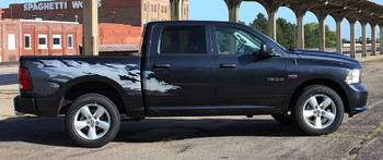 Profile view of Dodge Ram 1500 Bed Graphics RAGE digital stripes 2009-2018 | FCD Call Us 812-725-1410