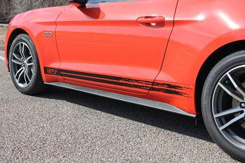 front BREAKUP | Ford Mustang GT Rocker Black Stripes 2015-2018 | FCD Call 812-725-1410