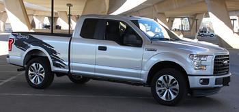 side TORN | Ford Truck Stripes MATTE BLACK 4X4 Decals 3M 2015-2018