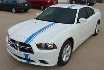 front angle E RALLY | Dodge Charger Racing Stripes Graphics 2011-2014 | FCD Call 812-725-1410