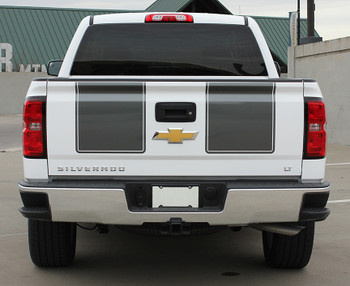 rear view Chevy Truck Racing Stripes 1500 RALLY decal graphic 2013-2015 FCD Call Us 812-725-1410