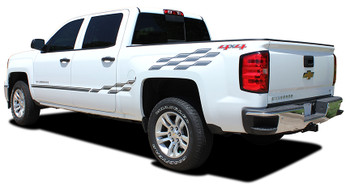 rear view of CHAMP | Chevy Truck Stripes Side Vinyl Graphics 2013-2018 | FCD Call 812-725-1410