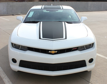 front view of Camaro Decal Stripes center graphic 2014-2015 BEE 3 FastCarDecals Call Us 812-725-1410