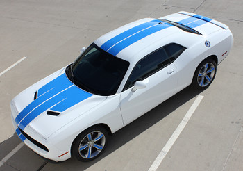 front angle Dodge Challenger Custom Stripes 15 WING RALLY decal kits 2015-2018 Call Us 812-725-1410