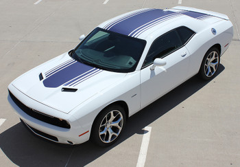 front angle view Dodge Challenger with Racing Stripes SHAKER graphic 2015-2018 FCD Call 812-725-1410